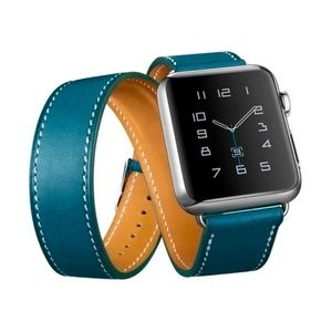 Blue leather double wrap Apple Watch band  38/40mm